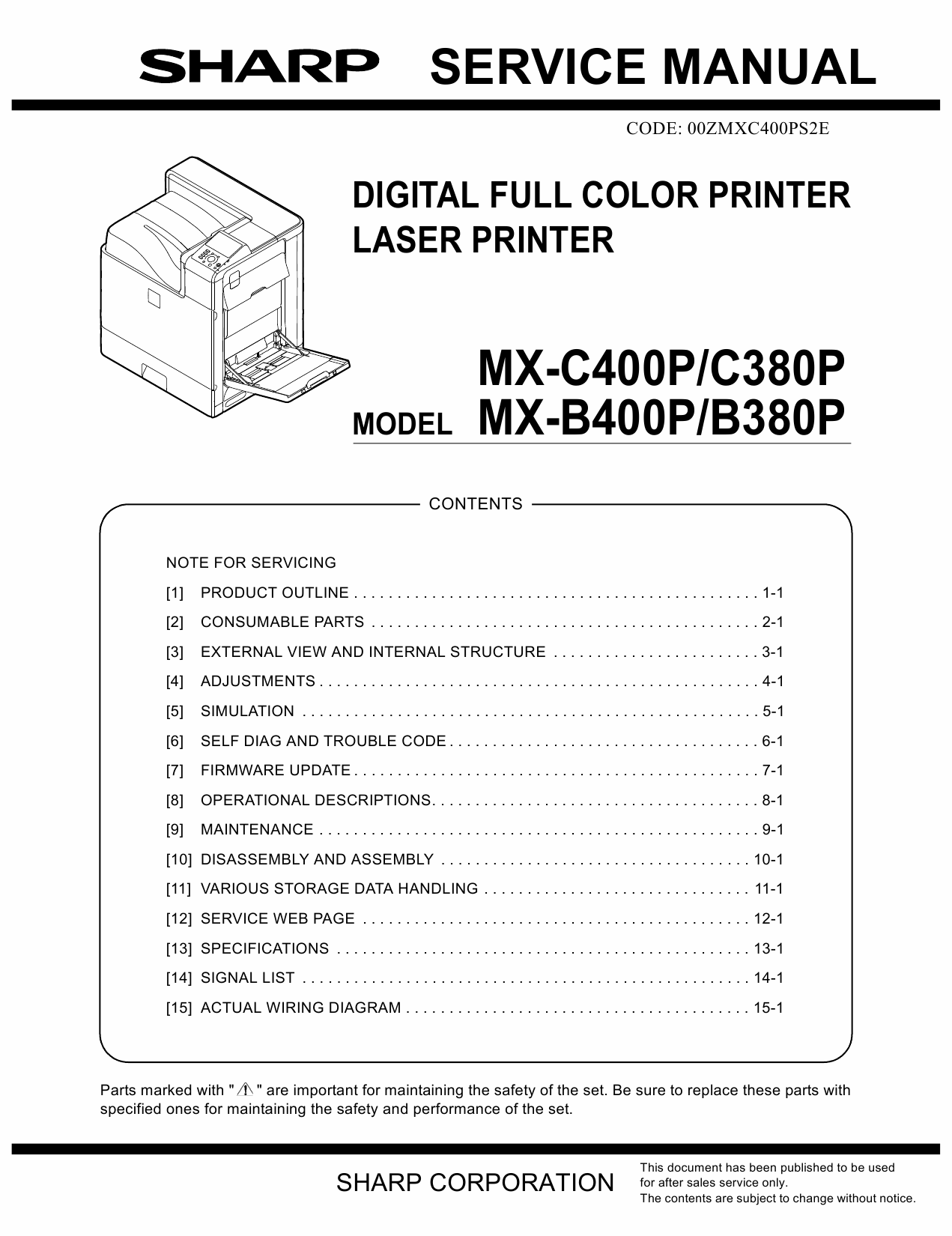 SHARP MX B400 B380 C400 C380 P Service Manual-1